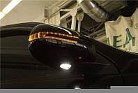 Корпуса зеркал с поворотами и подсветкой Toyota Land Cruiser Prado 150 2009-2017 в стиле Mercedes Benz, цвет черный