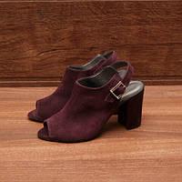 80281| Женские босоножки классические на высоком каблуке. Бордовые из натуральной замши