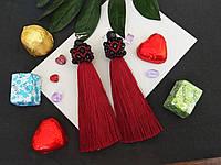 Серьги сережки кисть цвет красные марсал кисточки длинные висячие вечернее Марсаловые Кисти баклажан вишневые