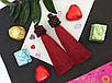 Серьги сережки кисть цвет красные марсал кисточки длинные висячие вечернее Марсаловые Кисти баклажан вишневые, фото 2