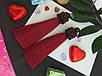 Серьги сережки кисть цвет красные марсал кисточки длинные висячие вечернее Марсаловые Кисти баклажан вишневые, фото 3