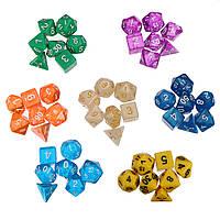 49шт 7 цветов Многосторонняя игра Ролевая игра Polyhedral Digital Acrylic Кости Набор с Сумки