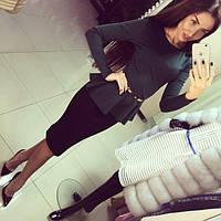 Женский стильный костюм кофта-баска+ юбка карандаш 48++