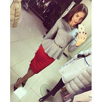 Женский стильный костюм кофта-баска+ юбка карандаш 48++ , фото 1