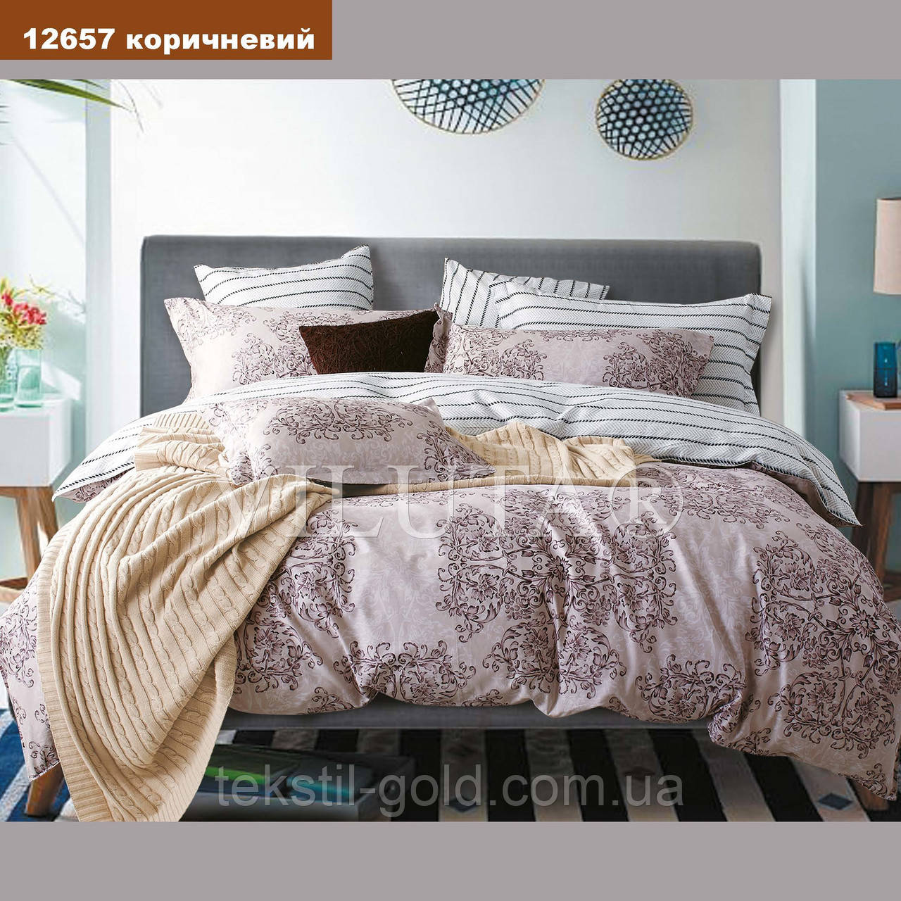 Евро комплект постельного белья VILUTA ранфорс-платинум 12657