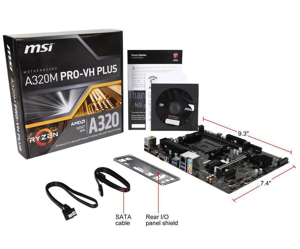 "Материнская плата MSI A320M Pro-VH Plus AM4 DDR4 ""Over-Stock"""