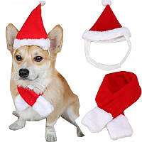 Рождество Pet Собака Кот Санта Шапка Воротник Установить головной убор Головной убор Котенок Шапки с шарфом Новогоднее украшение