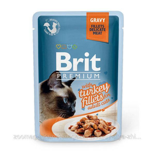 """Влажный корм Brit Premium Cat Pouch GRAVY Turkey Fillets """"Филе индейки в соусе"""" 8,5/4,5 (для взрослых кошек), 85 гр"""
