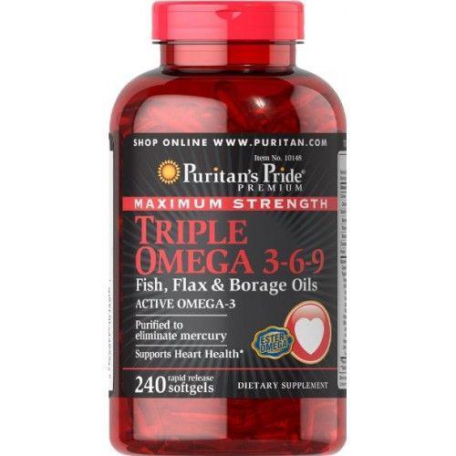 Puritans Pride Maximum Strength Triple Omega 3-6-9 Fish, Flax & Borage Oils 240 softgels