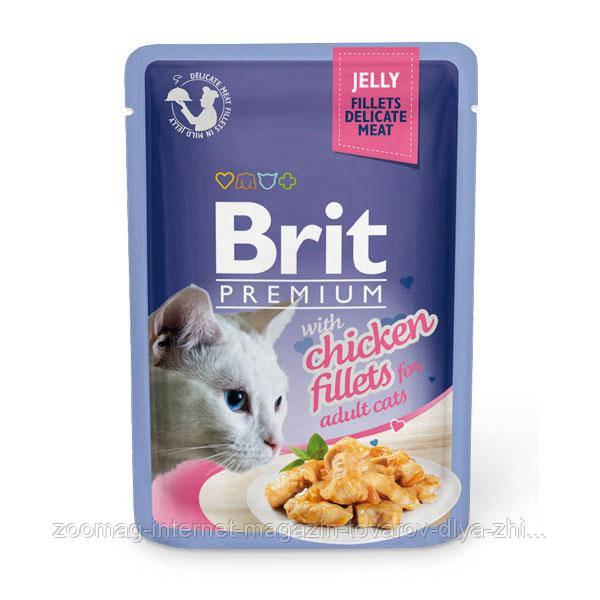 Влажный корм (Пауч) Brit Premium Cat pouch Кусочки из куриного филе в желе  85 гр