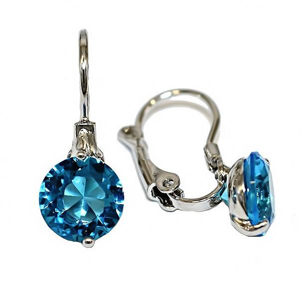 Серьги с Swarovski. Цвет металла: серебряный.Высота серьги: 2 см. Диаметр кристалла: 8 мм. Цвет: бирюзовый.