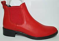 Ботинки женские кожаные красные, ботинки челси женские от производителя модель КА303-05
