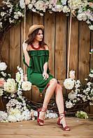 Туника зелёного   цвета из натуральной ткани индия