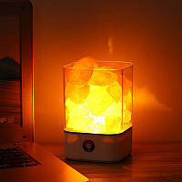 USB-источник питания Естественная гималайская соль Лампа Уникальные кристаллические соленые ночные светильники Home Bedroom Lighting Decor Crafts 7