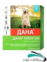 Капли от блох и клещей для собак и щенков от 20 кг, 4 х 1,5 мл,  Дана (Api-San)