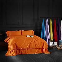 Постельное белье полуторное Orange 145х220см Сатин однотонный