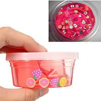 Слизь 4 унция Очистить Розовый Фруктовый салат Слизь Фимо-кусочек Кристально чистая игрушка-шпаклевка