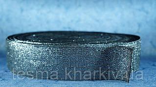 Резинка 50 мм чёрный с серебром
