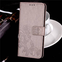 Чехол Книжка для Sony Xperia X Dual F5122 кожа PU Clover серый
