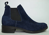 Ботинки женские замшевые синий, ботинки челси женские от производителя модель КА303-64