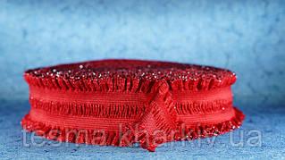 Резинка 50 мм рюшь красная с люриксом