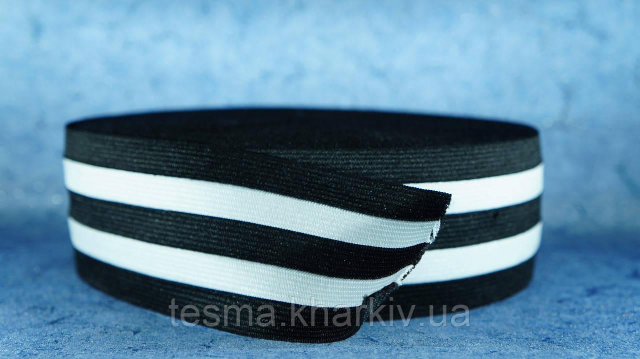 Резинка 50 мм чёрный/белый/чёрный/белый/чёрный