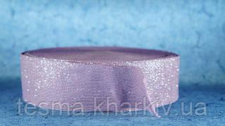 Резинка 50 мм розовый с серебром