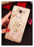 Чехол бампер Luxury для Samsung J3 2016 / J320 / J300 Gold с подставкой Ring Heart