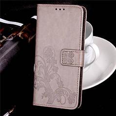 Чехол Книжка для Sony Xperia XA1 / G3112 кожа PU Clover серый
