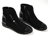 Классические ботинки из натуральной замши с лаковыми вставками, фото 1