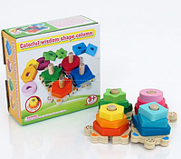 Деревянная игра пирамидка.Деревянный детский конструктор.Детский конструктор для малышей. Пирамидка.