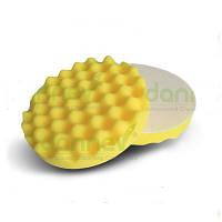 """Волнистый поролоновый пад средней жесткости, желтый 6""""(ø150мм x 25мм)Polishing Foam Pad - Velcro™ Yellow, Com"""