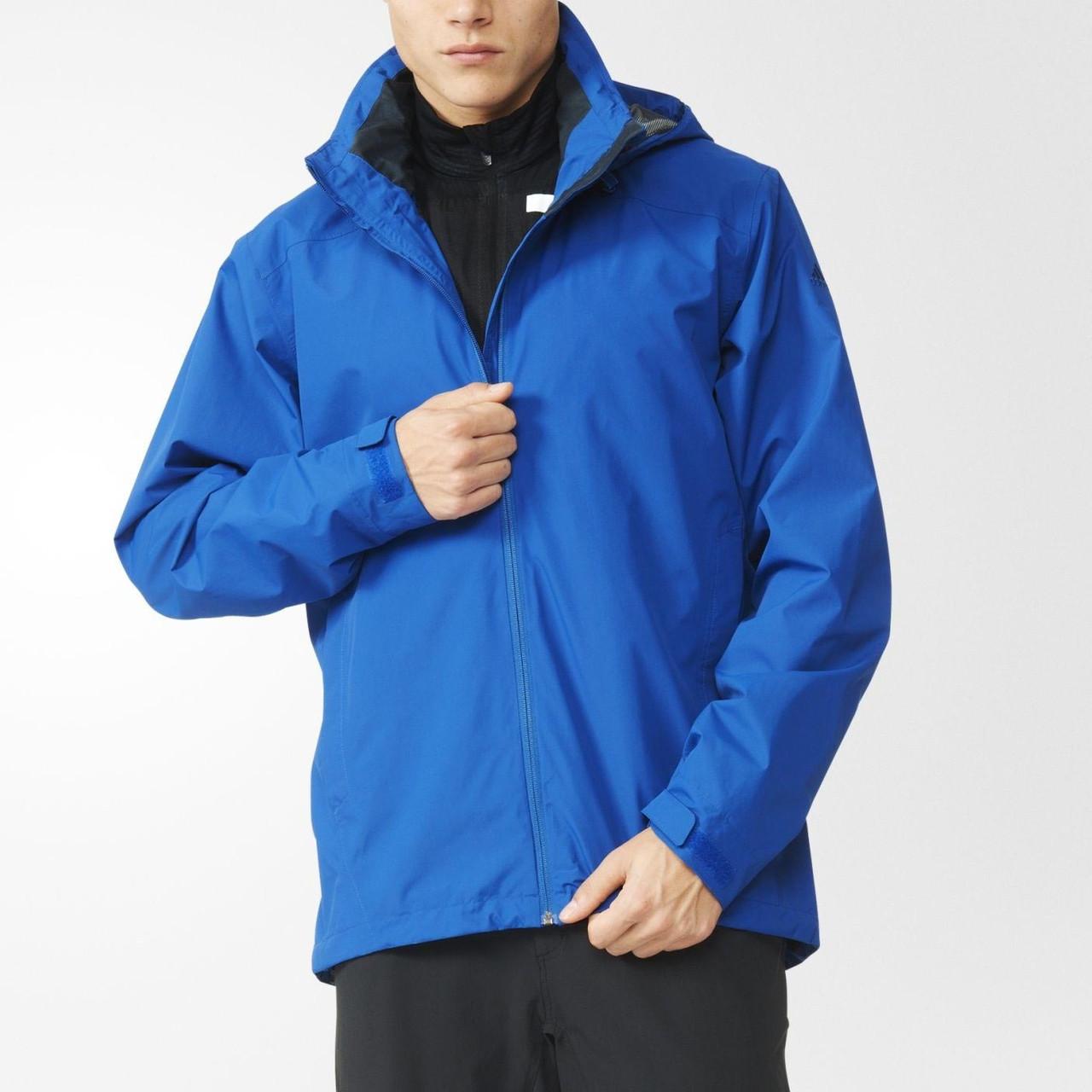 Ветровка спортивная мужская adidas 2L GTX JKT AO2377 (синяя, непромокаемая, непродуваемая, с логотипом адидас)