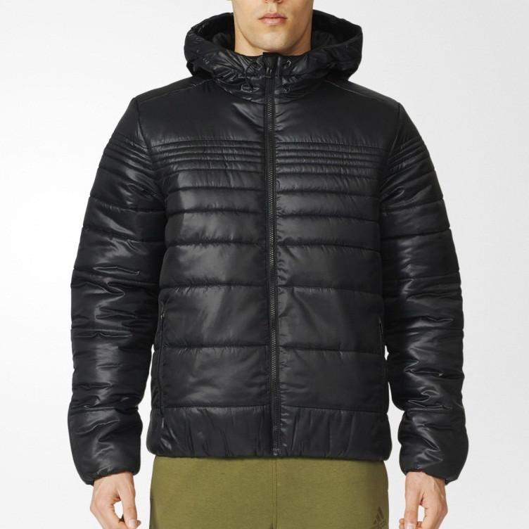 4a8ab9ac Куртка спортивная мужская adidas Padded Jacket AP9542 (черная, зимняя,  синтепон, с капюшоном