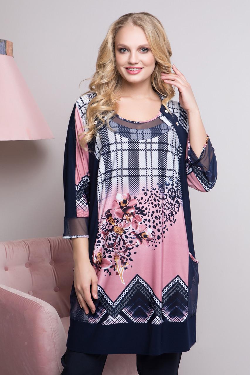 6178f7d8395 Туника больших размеров Дарья р 58-66 - Wellness-sistem - интернет магазин  одежды
