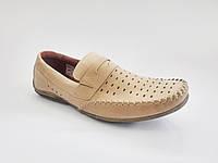 Туфли мокасины мужские кожаные летние бежевые Basso 193