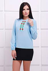 """Шифоновая голубая блузка с орнаментом маки, длинный рукав на резинке """"Alice 2"""""""