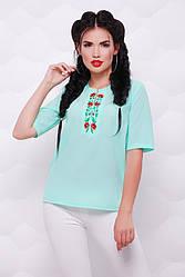 """Летняя шифоновая ментоловая блузка с орнаментом маки, рукав до локтя """"Alice"""""""
