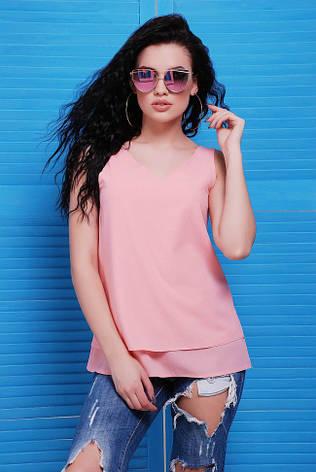933edb97754 Легкая шифоновая розовая блузка без рукавов
