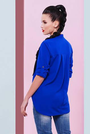 """Асимметричная шифоновая блузка цвета электрик на пуговицах, длинный рукав """"Michelle"""", фото 2"""
