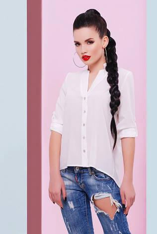 "Асимметричная шифоновая молочная блузка на пуговицах, длинный рукав ""Michelle"", фото 2"
