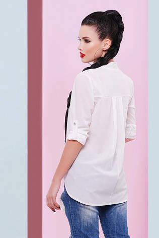 """Асиметрична шифонова молочна блузка на гудзиках, довгий рукав """"Michelle"""", фото 2"""