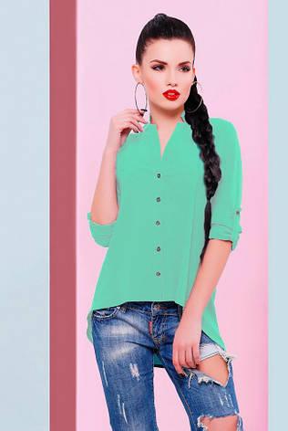 """Асимметричная шифоновая ментоловая блузка на пуговицах, длинный рукав """"Michelle"""", фото 2"""