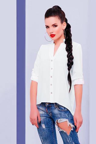 "Асимметричная шифоновая белая блузка на пуговицах, длинный рукав ""Michelle"", фото 2"
