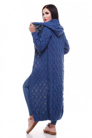Вязаный длинный женский кардиган с капюшоном синий, фото 2