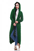 Стильный вязаный длинный женский кардиган с капюшоном зеленый