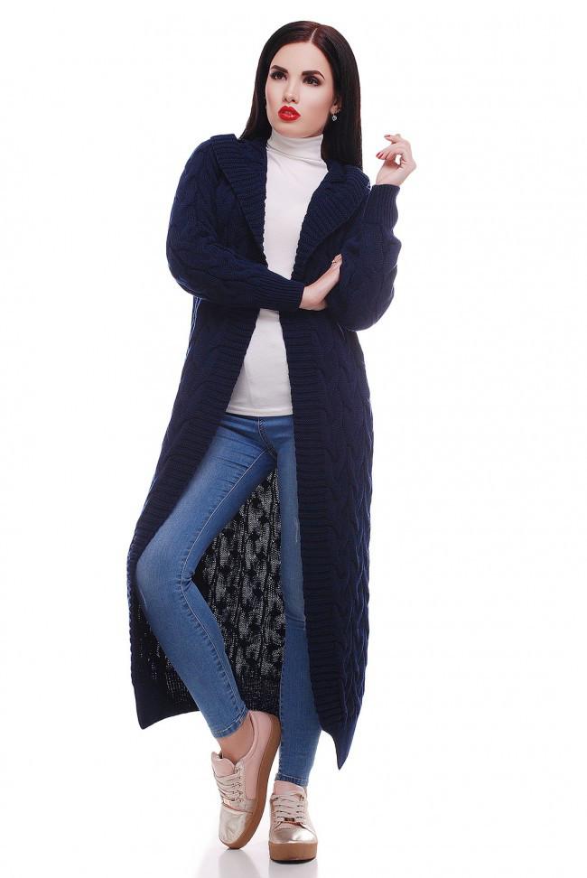 """Стильный женский вязаный кардиган с капюшоном в косичку длинный """"LIKA"""" темно-синий"""