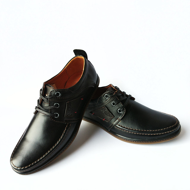 Харьковская фабрика мужской обуви ydg туфли кожаные, черного цвета, на шнуровке, повседневные