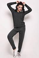 Вязаный женский спортивный костюм темно-серый