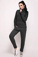 Вязаный женский теплый костюм по фигуре темно-серый